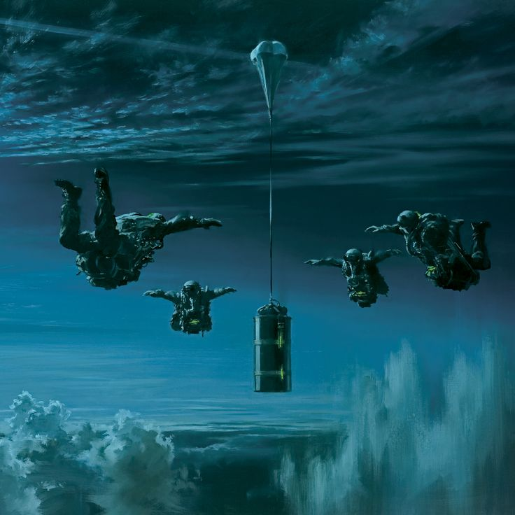 A four man Special Forces patrol follow a stabilised equipment container during a HALO freefall insertion into hostile territory. Painting by Stuart Brown.