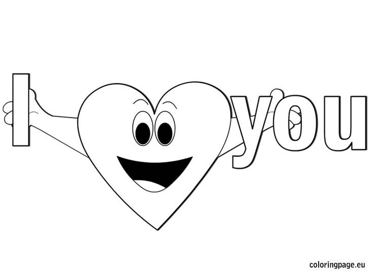 I Love You Coloring Page Printable ValentineHappy HeartColoring