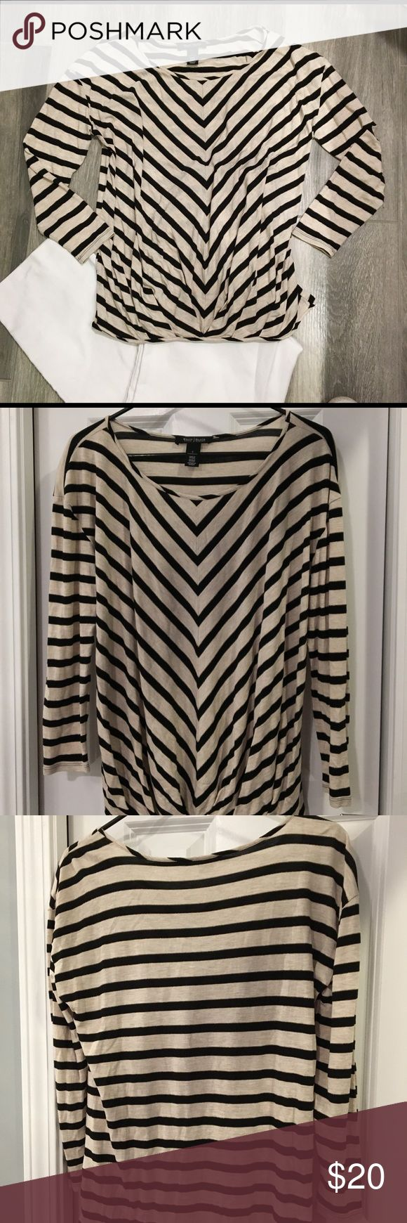 White House Black Market Slouchy Top Cream Black Comfortable and Classy Top Perfect for a spring day, office or weekend Size Small White House Black Market Tops Tees - Long Sleeve