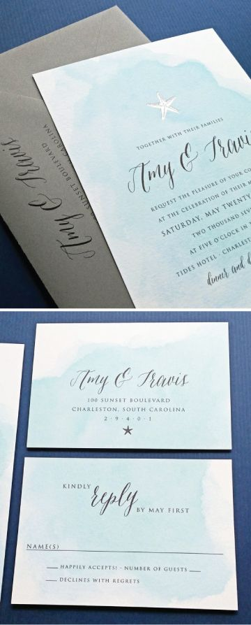 NEW Amy Blue Watercolor Beach Wedding Invitation with Gold or Silver Foil…
