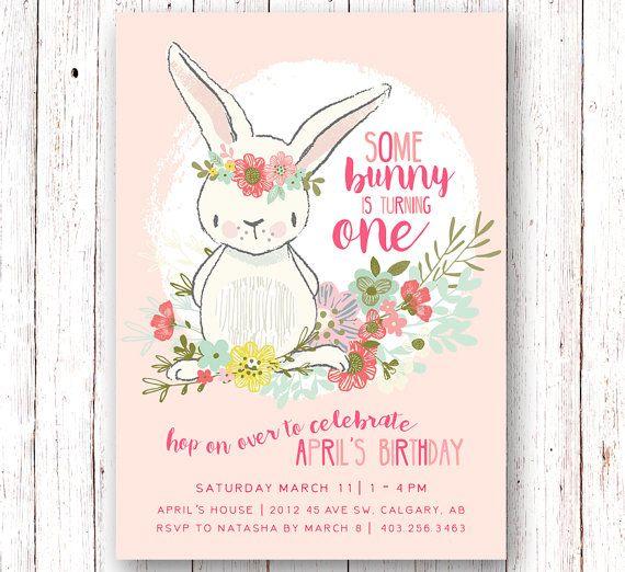 Bunny Birthday Invitation Spring Birthday by SprinklesAndLaceCo