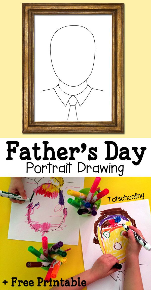 """FREE PRINTABLE: Father's Day Portrait Drawing Printable via Totschooling """"Make dad's portrait for Father's Day using this FREE printable drawing prompt. Can be used in different ways, by drawing, coloring, making a collage or with playdough!"""""""
