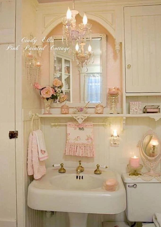 Pedestal Sink And Pink Chic Bathroom Decor Shabby Chic Bathroom