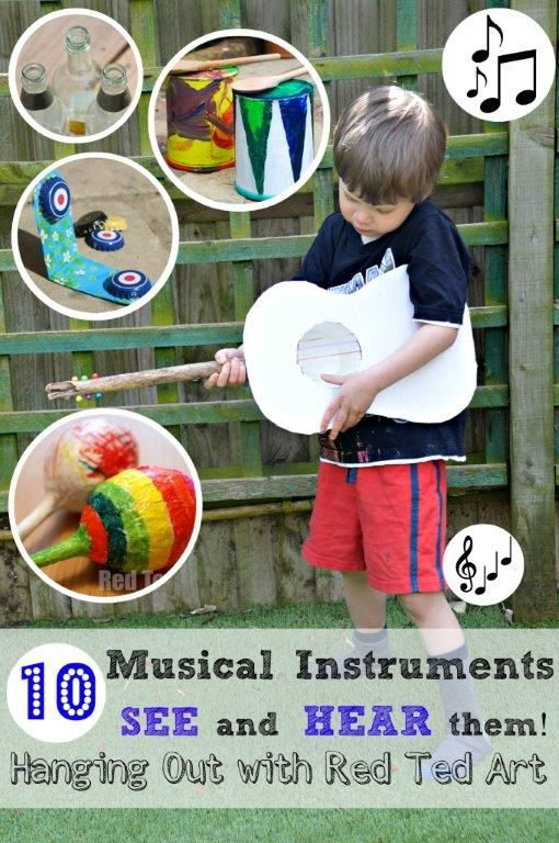 #DIY music! Because we all LOVE homemade musical instruments... this posts shares 10 craft ideas with you, but also lets you HEAR the instrument.