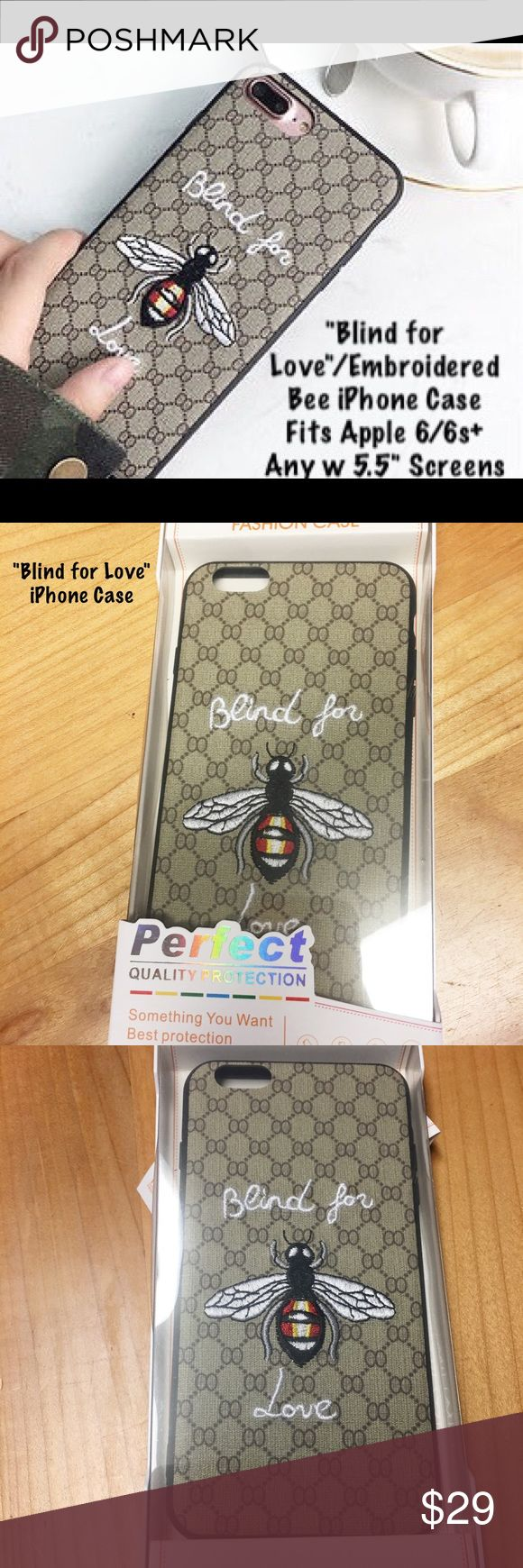 "🆕 Nip/""Blind for Love"" Embroidered iPhone 6/6s+ 🆕 Listing/Nip/Fashion iPhoneCase/""Blind for Love"" Embroidered iPhone Case for Apple iPhone 6/6s+ or any 5.5"" Screen iPhones. Fun/Flirty will be a conversation starter! Are you a ""Blind for Love"" Case Gal or Guy? Cloth w embroided Bee on the Cloth Patterned Fabric! My costs on these cases was a bit higher + Poshmark fees all reflected in pricing/Always open to Fair Offers/?'s please ask before purchase! Thank You! Tory's Timeless Treasures…"