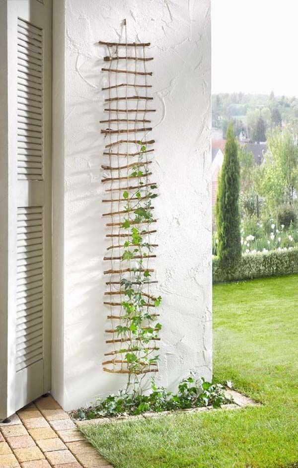 Make a lattice with twigs and rope for your garden climbing vines.