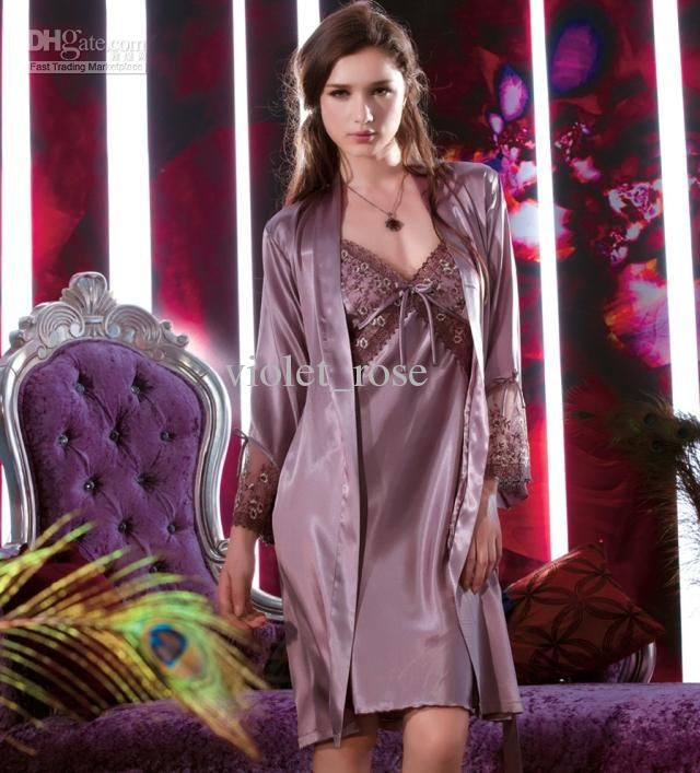 Wholesale Sexy Club Dresses - Buy Exquisite Sexy Bud Silk Nightgown Silk Pajama Gallus Nightgown Two-piece Set Night-robe Violet_rose, $31.4...(MULBERRY)