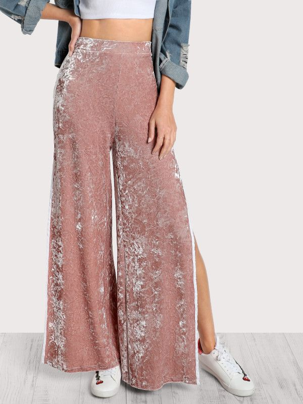 Elasticized Waist Velvet Pants -SheIn(Sheinside)