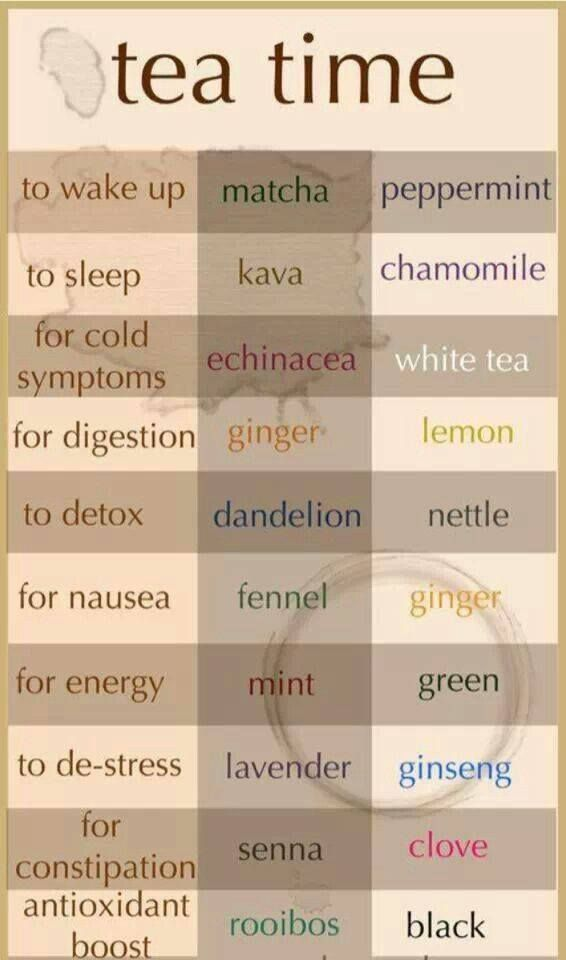 Tea Time: Tea suggestions for a variety of health concerns, such as digestion, detox, nausea, stress, and constipation   matcha, kava, echinacea, ginger, ginseng, seena, rooibos, nettle, peppermint, clove, lavender...