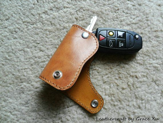 100% hand stitched handmade cowhide leather key purse/ holder/ case