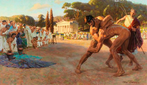 Tom Lovell « Referee Watches Greek Wrestlers In Ancient Olympic Games