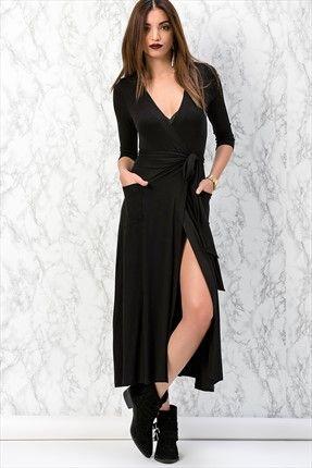 Siyah Çift Cepli Kruvaze Elbise Y153