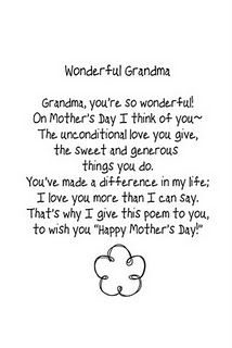 Mother's Day Poem (for Grandma) Don't forget the kiddos who have a Grandma at home instead of Mommy.