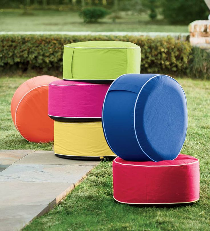 These Inflatable Outdoor Ottomans are easy to take along to beach, ball game, party or poolside.