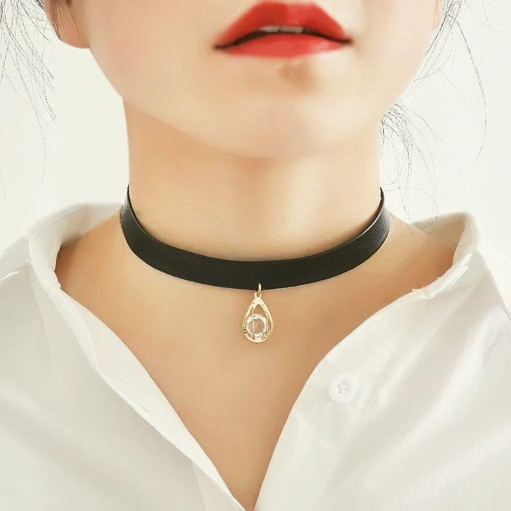 Punk Leather Choker Necklace Rock Bell Pendant Necklace Collar Necklace Jewelry Short Necklaces Collier Femme