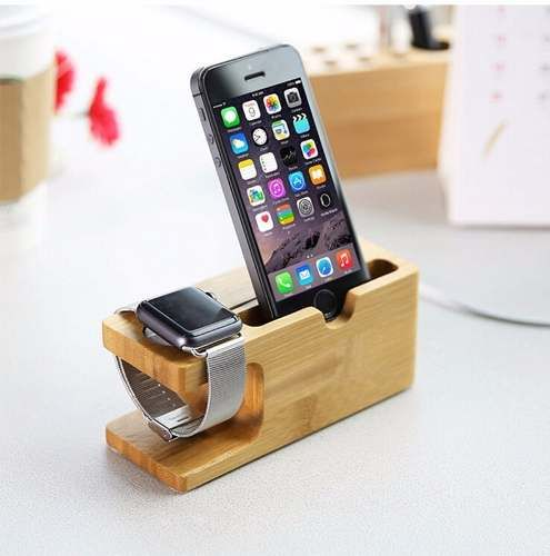 stand soporte dock carga apple watch & iphone madera bamboo