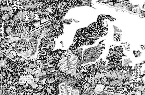 Британский художник Гарет Вуд под псевдонимом Фуллер рисует необычные карты английских городов с собственной интерпретацией, на создание которых уходит до нескольких лет.  На создание последней работы - карта Лондона - у художника ушло 10 лет.