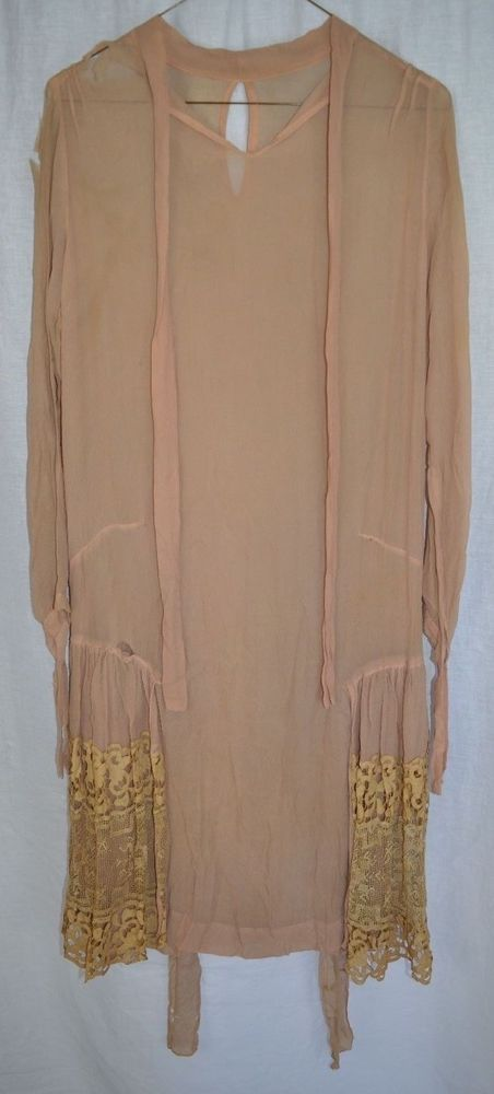 Vintage 1920s Beige Flapper Lace See Thru Dress Costume Theater or Salvage  | eBay