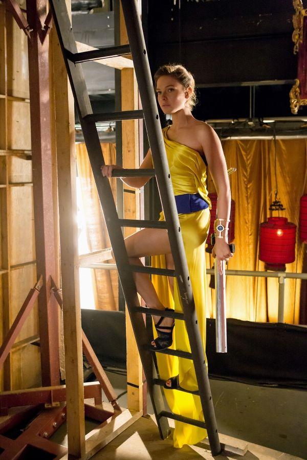 rebecca ferguson, this yellow dress is lovely, blue sash
