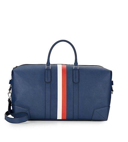 New NWT $495 Ben Uri Minkoff Blue Navy Leather Weekender Duffle Men Work Bag GQ #BenUriMinkoff #WeekenderBag