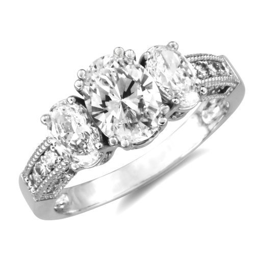 14k White Gold 3 Three Stones Prong Set Oval Shape with Side Stones CZ Cubic Zirconia Bridal Wedding Anniversary Engagement Ring 1.75ct IceNGold,http://www.amazon.com/dp/B004YIV468/ref=cm_sw_r_pi_dp_7ETIrb04RJZF1E7T