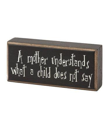 'A Mother Understands' Box Sign #zulily #zulilyfinds