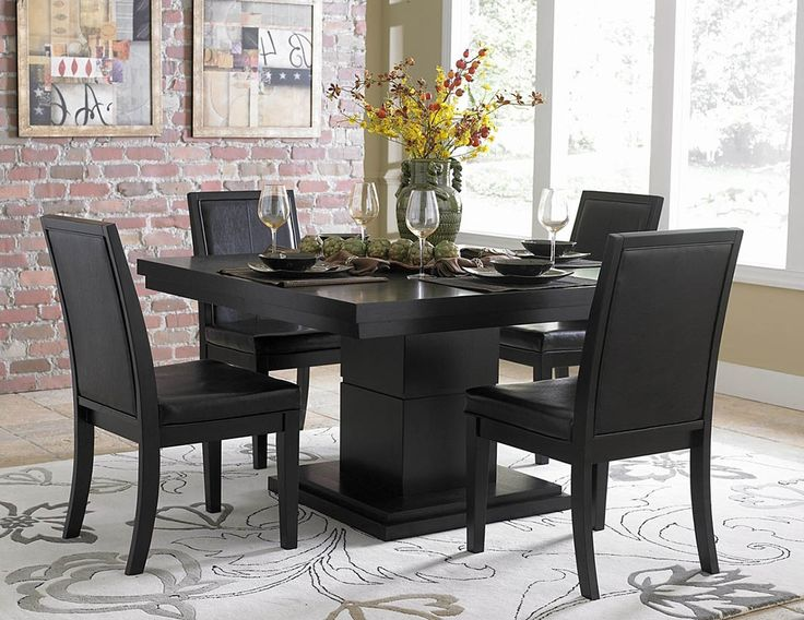Dining Room, Cool Flower Vase Table Centrepiece Idea Feat Floral Themed Area Rug And Modern Black Dining Room Sets: antastic Black Dining Room Sets for Your Style