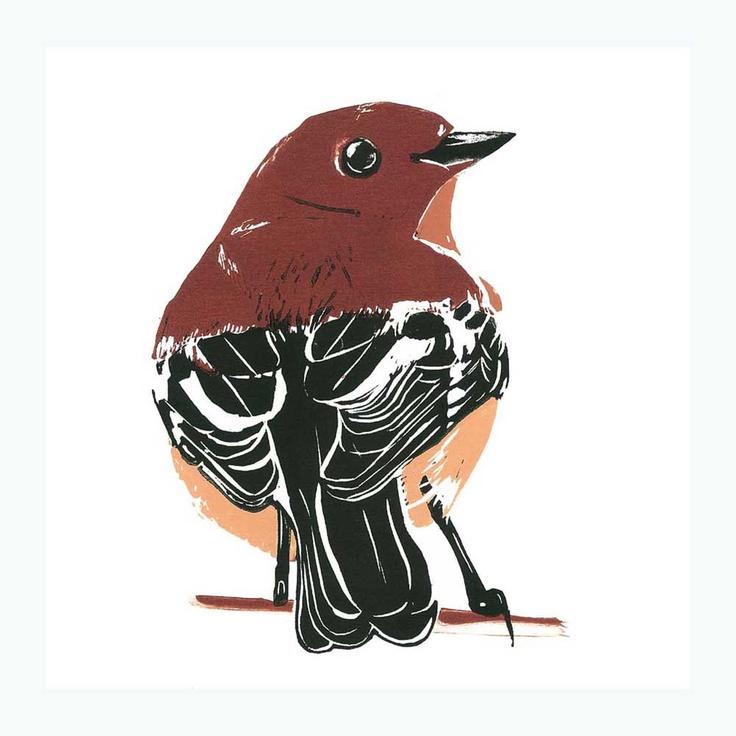 Round Robin - colour linocut print. $350.00, via Etsy.