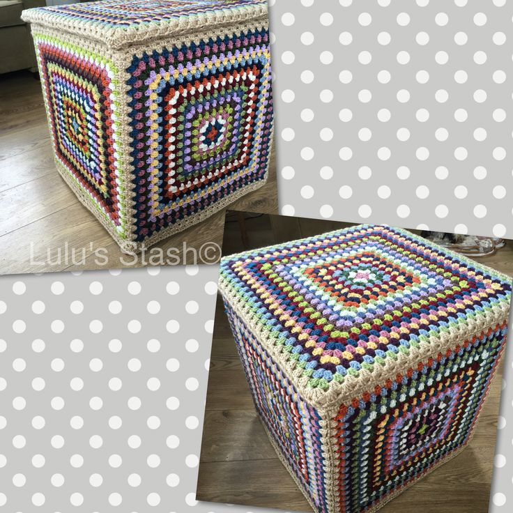 An IKEA storage cube covered in giant crochet granny squares made with Caron Simply Soft, from www.facebook.com/lulusstash