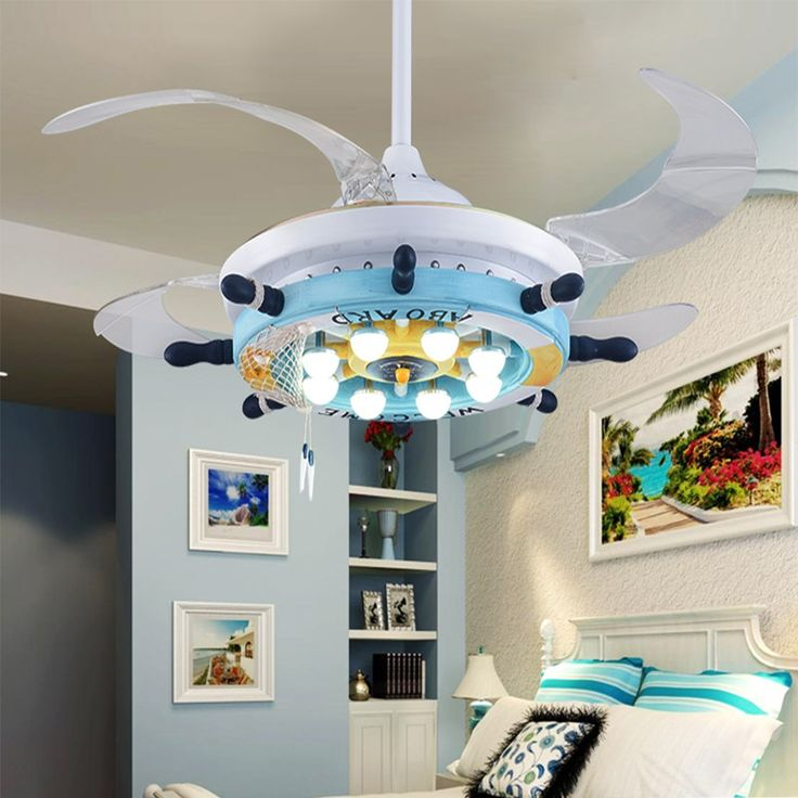 493.00$  Watch here - http://ali9ox.worldwells.pw/go.php?t=32706226616 - 110V-220V Led Cartoon Ceiling Fans modern dining lighting rustic light fixtures Mediterranean Led pendant light lamp Led night