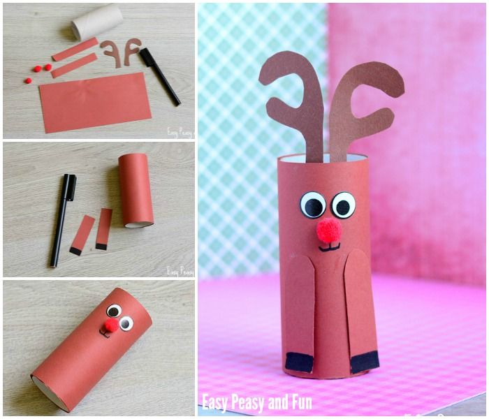 Paper Roll Rudolph Reindeer Craft
