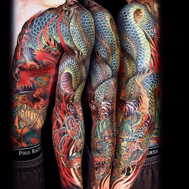 Amazingly vivid Japanese Dragon full-sleeve/half-chestpiece by the talented @jessyentattoo