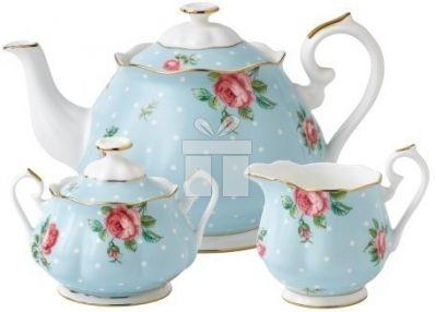 Set 3 Piese Ceai Royal Albert Polka Blue #accesoriiceai #accesoriiceaiportelan #portelanenglezesc #ceainic #cadouridelux #cadourispeciale #cadourifemei