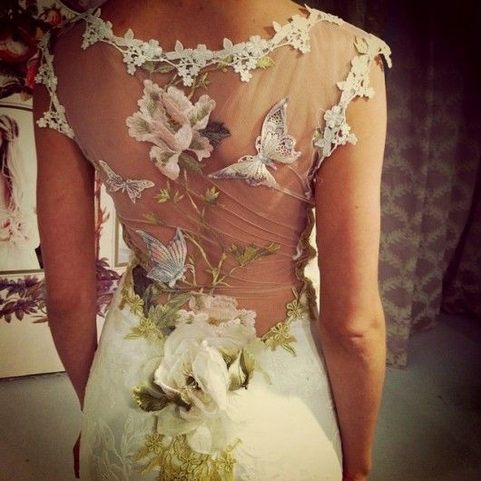 clairepettibone:  Back Details: Claire Pettibone 'Papillion' wedding dress Still Life Collection 2014 fashion show  Photo: Summer Wynn