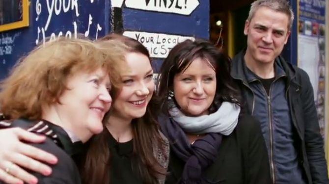 Pauline Scanlon, Éilís Kennedy (Lumiere) with Donagh Hennessey outside Dingle Record Shop. www.dinglerecordshop.com