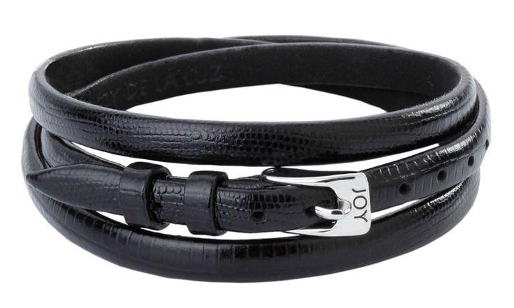 Joy de la Luz | Leather buckle bracelet Lizard black