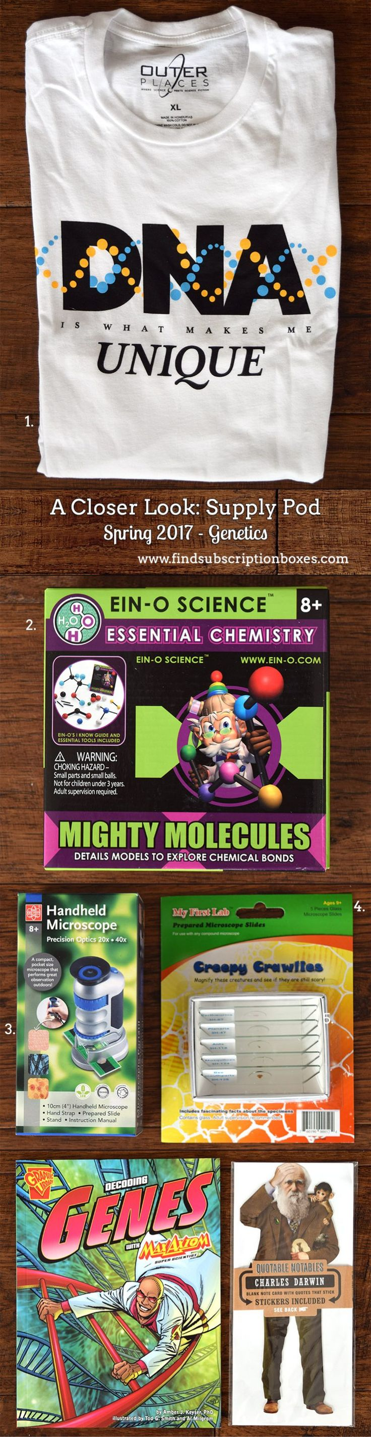 The Spring Genetics Supply Pod by Outer Places unboxed! Handheld Microscope, Ein-o Science Mighty Molecules Kit, Charles Darwin Notables, and more STEM goodies. Check out our review and save 10% off today! http://www.findsubscriptionboxes.com/a-closer-look/spring-2017-supply-pod-review-genetics/?utm_campaign=coschedule&utm_source=pinterest&utm_medium=Find%20Subscription%20Boxes&utm_content=Spring%202017%20Supply%20Pod%20Review%20%E2%80%93%20Genetics%20%2B%20Coupon  #SupplyPod