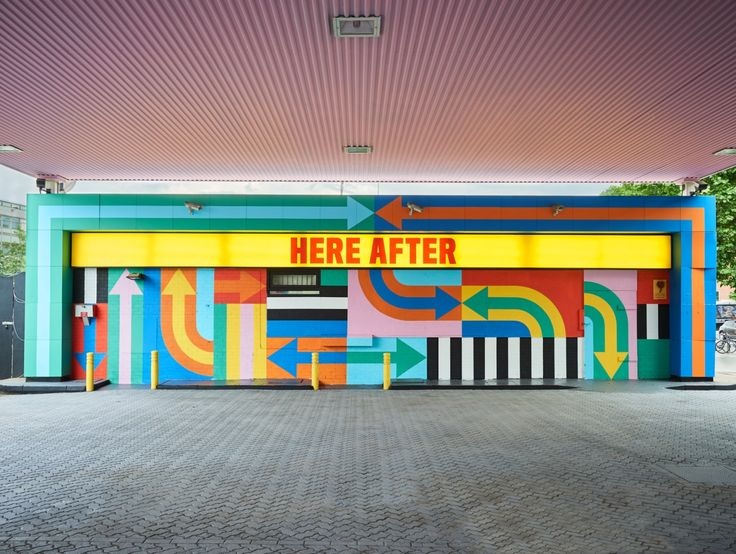 Design duo Craig & Karl has transformed a derelict petrol station on Wood Lane in London's White City into a colourful, stripy installation.