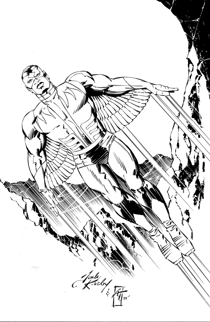 The Falcon by Jack Kirby  Like with The Black Panther, Kirby,here, shows the  Nobility & Dignity of the Black Man.