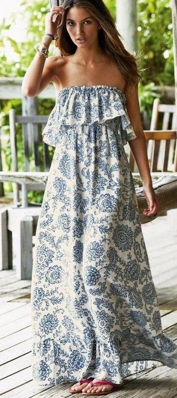 #spring #street #style #inspiration |Porcelain Print Ruffled Maxi Dress