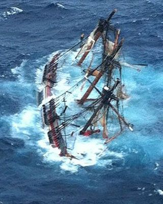 On Oct 29, 2012 the 16 members of the Bounty abandoned ship off the coast of North Carolina. The ship (a 1960 recreation of the original) was  caught in the high 18 foot waves of Hurricane Sandy. Her captain and a descendent of mutineer Fletcher Christian were lost.