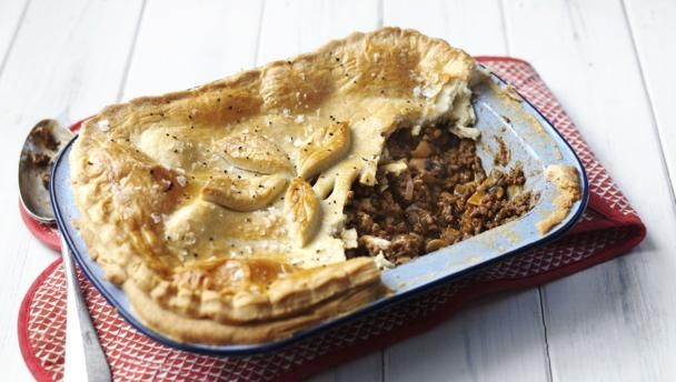 Minced beef pie |      This tasty and economical pie recipe will quickly become a family favourite. Serve with mounds of mash.