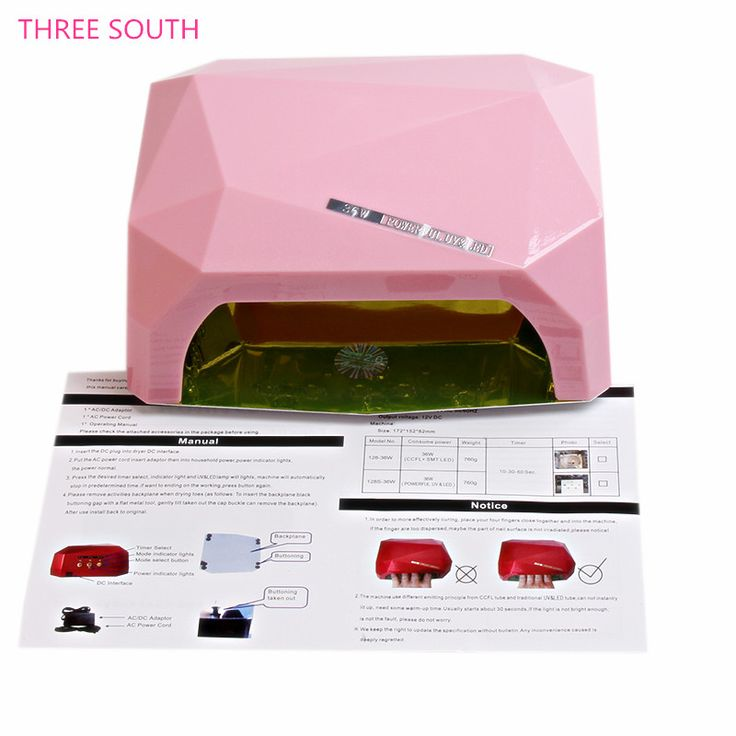 THREE SOUTH 36W AUTO UV Lamp LED Nail Lamp Nail Dryer Diamond Shaped Curing for UV Gel Nails Polish Nail Art Tools
