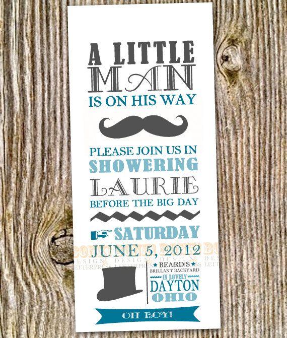 Little Man Mustache Baby Shower or Birthday by BonkPress on Etsy, $20.00