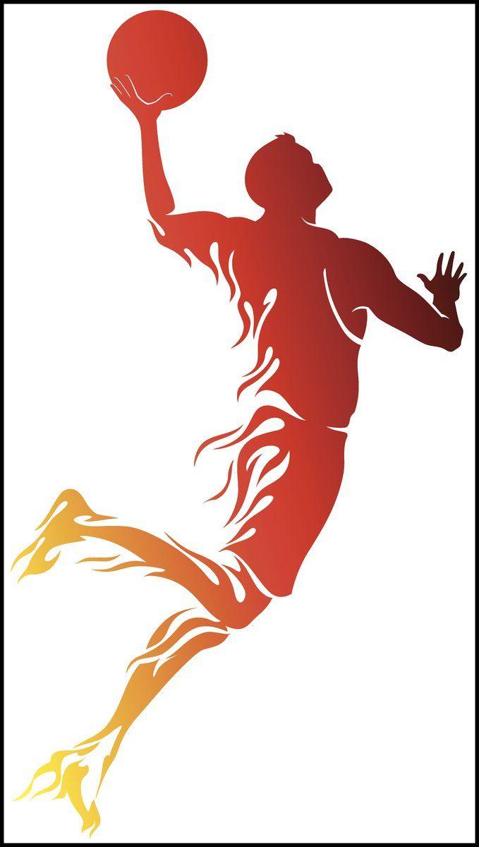 Cool Basketball Player Shooting Silhouette Cartoon Fire Flames Vinyl Sticker In 2020 Basketball Art Basketball Players Basketball Silhouette
