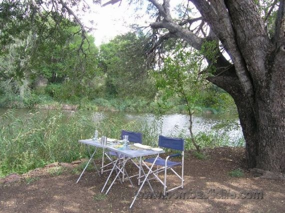 Private lunch along the riverbank in South Africa.
