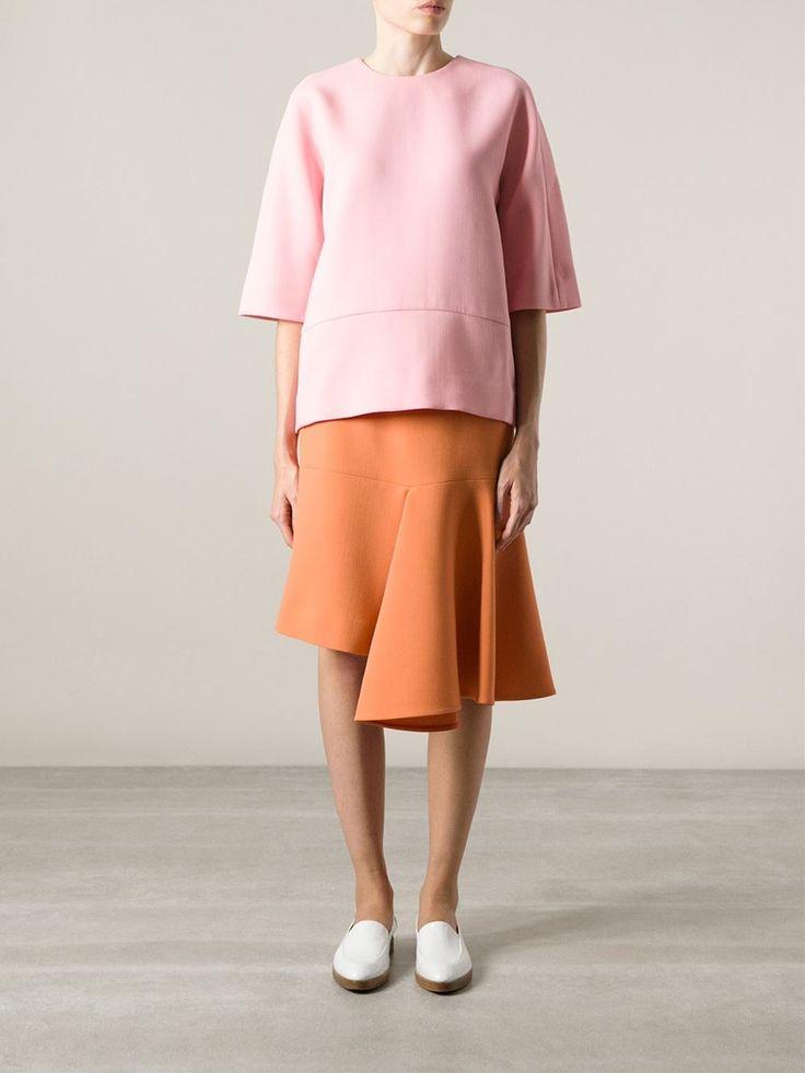 Shop MARNI asymmetric midi skirt from Farfetch