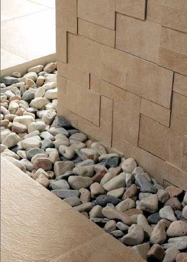 Coolest idea for the bathroom. Going to try to incorporate a strip of pebbles as a feature tile.