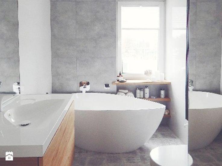 #malalazienka szara biała drewno łazienka płytka cementowa