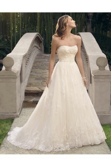 Casablanca A-linie Glamouröse Schöne Brautkleider aus Softnetz mit Applikation